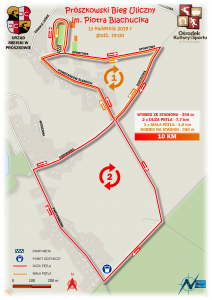 Bieg uliczny w Prószkowie - mapa statyczna