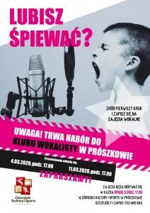 plakat klub wokalisty nabór - ekran